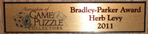 Bradley Parker Award Plaque 2011